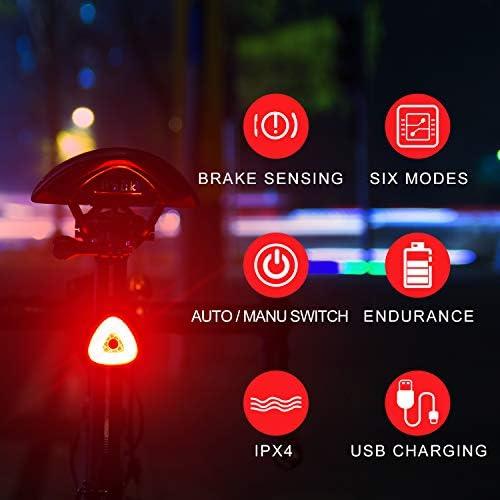 BOHSRL Bike Tail Light, Smart Brake Sensor USB Rechargeable Bicycle Rear Light, Waterproof LED Light