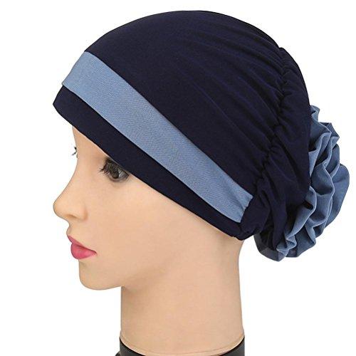 Qingfan Women Ruffle Cancer Chemo Elegant Lace Hat Beanie Scarf Turban Head Wrap Cap - Cap Womens Cancer Month