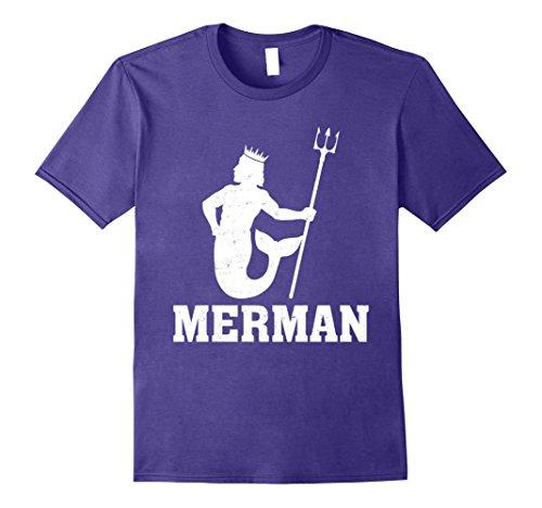 Mens Funny Merman Mermaid Costume T-Shirt 2XL Purple