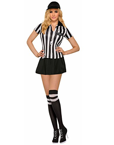 Forum Novelties Women's Referee Costume with Matching Knee Highs, Black/White, Standard]()