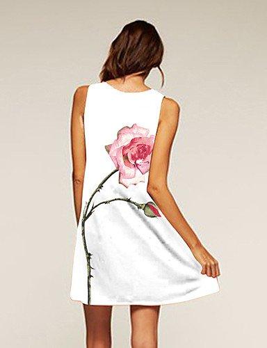 PU&PU Robe Aux femmes Ample Simple / Street Chic,Fleur Col Arrondi Au dessus du genou Polyester , white-l , white-l