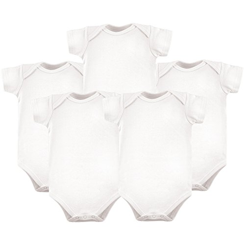 Hudson Baby Baby Cotton Bodysuits, White 5 Pack, 0-3 Months