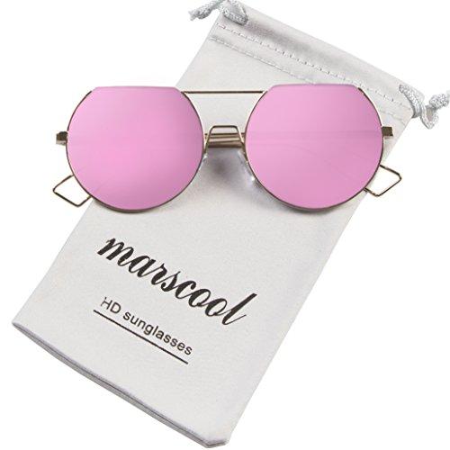 Modern Retro Hippie Mirror Flat Lens Eyewear Double Bridge Metal Frame Flat Top Round Sunglasses for Women UV400 - Female Face Round Sunglasses For