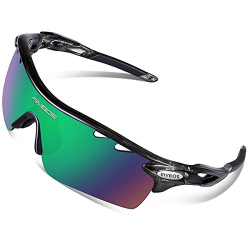 RIVBOS 801 Polarized Sports Sunglasses Sun Glasses with 5 Interchangeable Lenses for Men Women Baseball Cycling Runing (829-Transparent - For Men Goggles Sun
