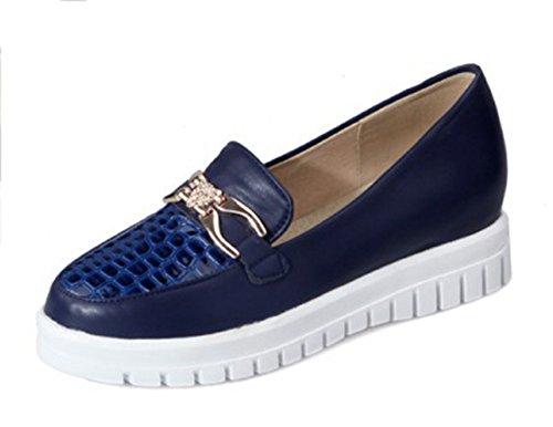 Moda Para Mujer Casual De Metal Redondo Punta Redonda Tops Media Suela De La Plataforma De Deslizamiento Plano En Zapatillas De Deporte De Moda Mocasines Zapatos Azul