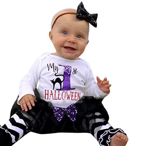 Toddler Baby Girl Halloween Long Sleeve Romper Bodysuits + Tutu Skirt + Leg Warmers + Headband Outfits Clothes Set (White, 0-6M) ()
