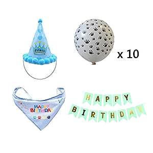 Amazon com : kathson Boy Dog Outfits Birthday Hat Bandana