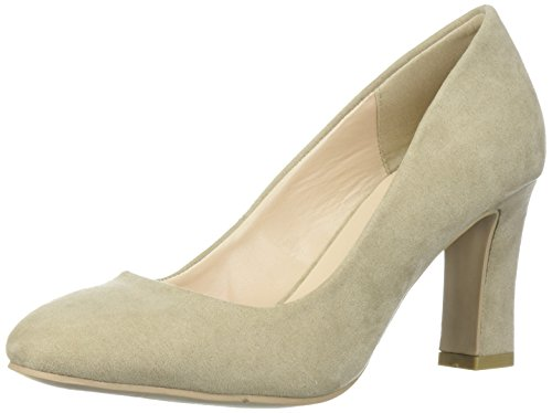 Qupid Womens Low Heel Pump  Light Taupe Suede  10 M Us