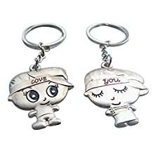 4EVER Big Head Kids Couple Keychains (With Gift Box and Greeting Card) Best Key Ring Key Chain for Valentine Wedding Anniversary