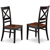 East West Furniture QUC-BLK-W Dining Room Chair Set with X-Back, Black/Cherry Finish, Set of 2