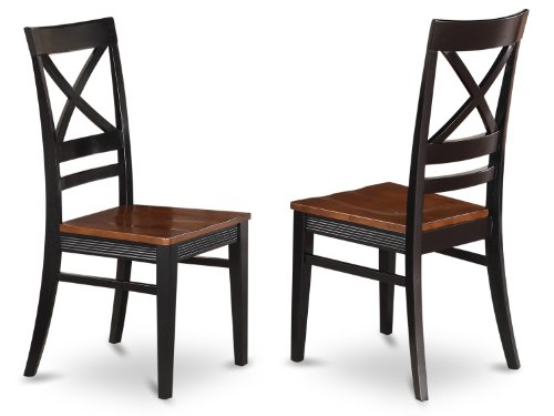 East West Side Set (East West Furniture QUC-BLK-W Dining Room Chair Set with X-Back, Black/Cherry Finish, Set of 2)