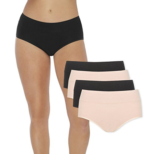 Women's Period Panties – Soft & Silky Bamboo Briefs – Menstrual Sanitary Underwear – Postpartum Extra Protection (4, Large (Black + Skin))