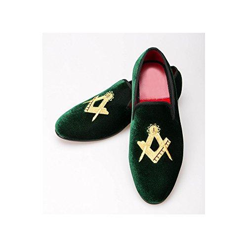 à Soirée Enfiler Velours Elégant Mocassins Homme Vert Mariage foncé Chaussures Mode Axn0twF