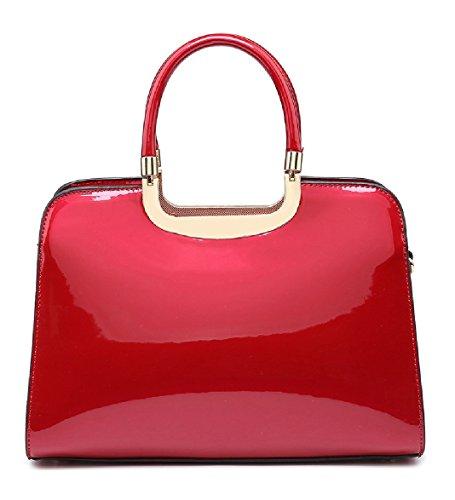 Ladies Structured Faux Patent Leather Handbag - Women's Shoulder Grab Bag MA35066 Red