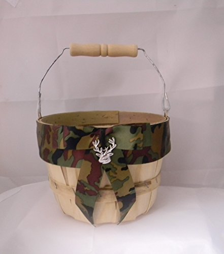 Wedding party ceremony Camo Redneck Deer Hunter Hunting flower girl basket - Custom Wedding Flower Girl Basket