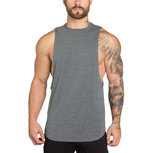 Sleeveless Muscle Raglan - vermers Clearance Men's Sport Tank Tops Gyms Bodybuilding Fitness Muscle Sleeveless Singlet T-Shirt Vest(2XL, Grey)