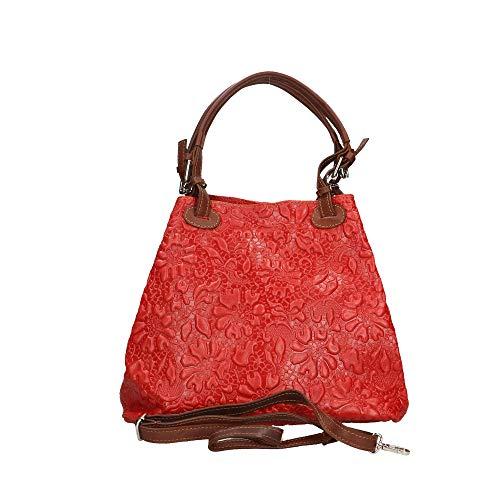 Sac Cm Made In Chicca Italy À 33x28x17 Rouge Cuir Bag Borse Bandoulière Véritable En 48qEz7