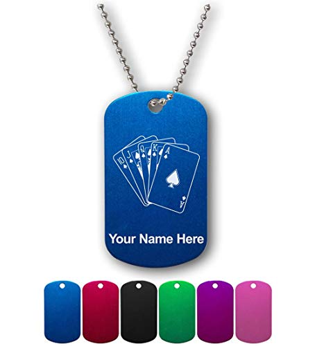 (Military Style ID Tag, Royal Flush Poker Cards, Personalized Engraving Included )