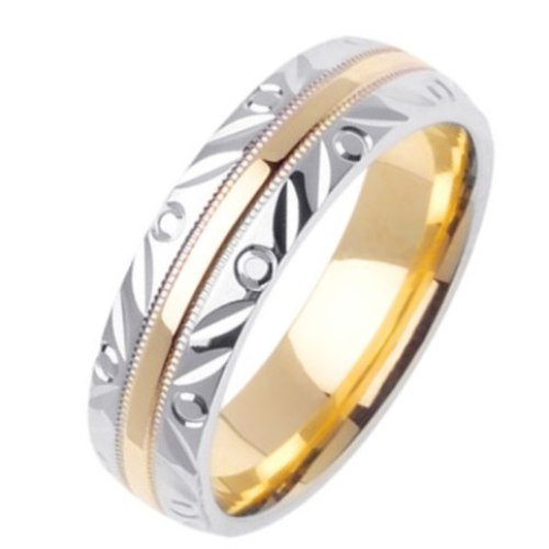 14K Two Tone White & Yellow Gold 6mm Carved Edge Wedding Band for Men (Sizes ...