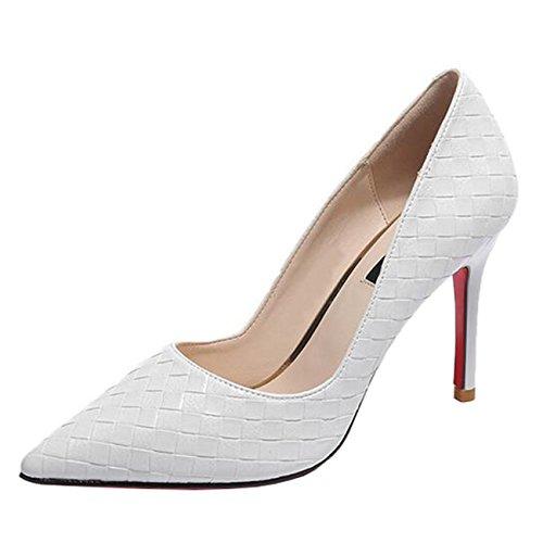 Mashiaoyi Damen Spitze-Zehe Stiletto ohne Verschluss Pumps White