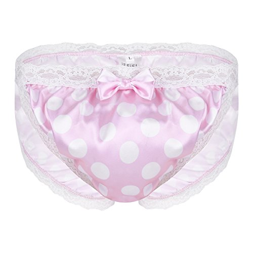Shiny Polka Dot French Lace Ruched Sissy Thong Briefs Underwear Underpants Pink Medium (Waist:27.5-39.0