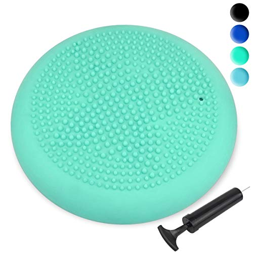 Trideer Inflated Stability Wobble Cushion with Pump, Flexible Seating Classroom, Extra Thick Core Balance Disc, Wiggle Seat for Sensory Kids (Office & Home & School) (33cm Mint Green) (Office Chair Mint)