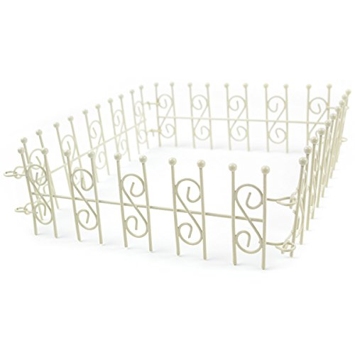 Touch of Nature Mini Iron Fairy Garden Fence, Cream, 79cm Total Length; 6.5 cm Tall ()