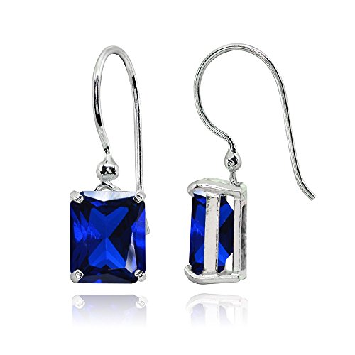 Octagon Blue Sapphire - Sterling Silver Created Blue Sapphire Octagon-Cut Solitaire Drop Dangle Earrings for Women