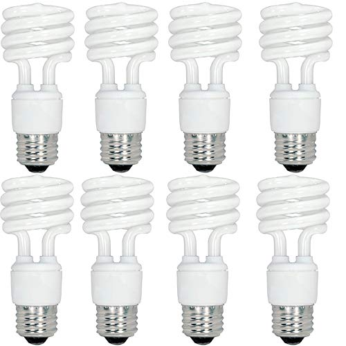 Satco S6278 Mini Spiral Compact Fluorescent Light Bulbs (8-Pack), 18 Watt, 120 Volts, 1140 Initial Lumens, T2 Lamp Shape, Medium Base, E26 ANSI Base, 18T2/27 Lamp Code, 2700 Kelvin Temp, 82 CRI ()