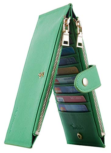 Travelambo Womens Walllet RFID Blocking Bifold Multi Card Case Wallet with Zipper Pocket (CH Green Grass 7307)