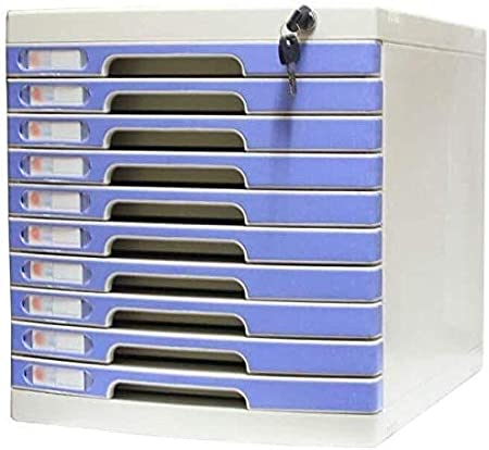 Color : Blue, Size : 10-Layers File Cabinets Lock Multi-Layer Plastic Drawer Type Office Storage Archive Box High-Hardness Aluminum Alloy Material 29.5X39.4X32.5CM File Cabinet