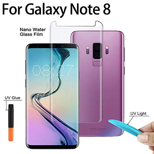 Auswaur Fit Samsung Galaxy Note 8 Screen Protector Tempered Glass [Liquid Dispersion Tech] with UV Light 3D Curved Case Friendly Glass Compatible Samsung Note 8 Screen Protector