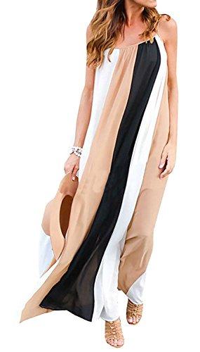 Farktop Women's Sexy Plus Size Sling Striped Beach Chiffon Maxi Casual Dress (Sexy Plus Dress)