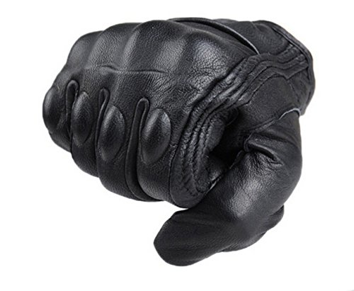 FXC Full Finger Motorcycle Leather Gloves Men's Premium Protective Motorbike Gloves (L, Solid)