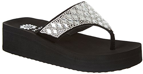 Yellow Box Womens Perri Wedge Flip Flops Black/Clear under 70 dollars free shipping professional u7hkH