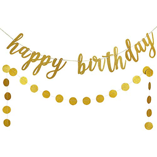 Gold Glittery Happy Birthday Banner and Gold Glittery Circle Dots Garland(25pcs Circle Dots) -Birthday Party Decoration Supplies -
