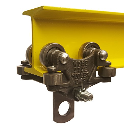 Guide Side - Jervis Webb Beam Trolley With Side Guide Rollers. Industrial Grade 500 Pound Capacity. Conveyor Trolley For I-Beams.