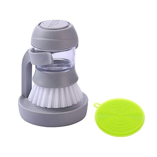 Palm Scrub Soap Dispensing Washing Dish Brush with Storage Stand, Plus Silicone Scrubber Brush For Kitchen Sink Cleaning Brush(1 set soap dispenser brush+1 Silicone Sponge Dishwashing ()