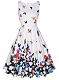 MISSJOY Womens Vintage 1950's Sleeveless Floral Rockabilly Garden Party Dress
