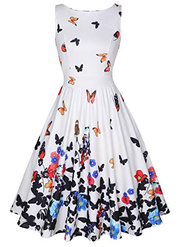 MISSJOY Women's Boat-Neck Floral Sleeveless Midi Fit Flare Dress with Pocket Beige