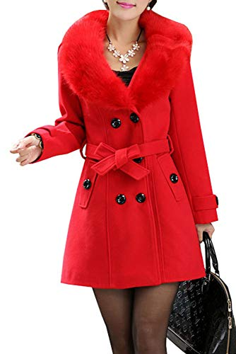 manga larga Rojo mujer de Abrigo 5 All para Amarillo IgPUUtx