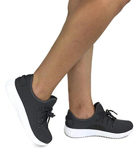 Die athletischen Schuhe der Sammlungs-Jill-Frauen beiläufige Art- und Weisebreathable Maschen-Turnschuhe Graue Holzkohle