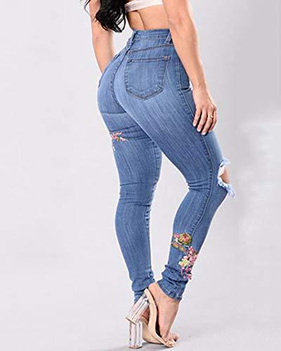 Pantalones Fit Lápiz Mujer Yonglan Slim Azul Mezclilla Vaqueros Elástico Rotos Bordadas Jeans Claro Flores 8PvqP