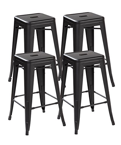 eurosports Tolix Style Chair ES-3001-MB-4 Backless Metal Bar Stools Chair 26 inches (Matt Black Set of 4)