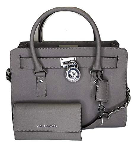MICHAEL Michael Kors Hamilton EW Satchel bundled with Michael Kors Jet Set Travel Trifold Wallet (Pearl Grey)