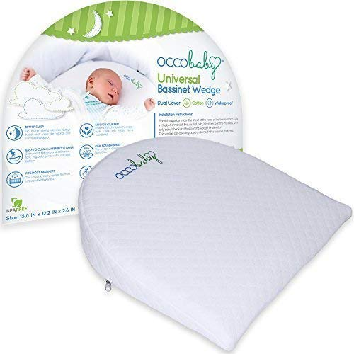 (OCCObaby Universal Bassinet Wedge | Waterproof Layer & Handcrafted Cotton Removable Cover | 12-Degree Incline for Better Night's Sleep)