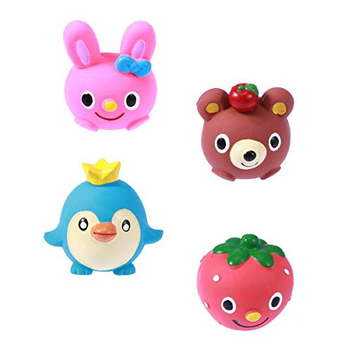 POPETPOP 4Pcs Cute Dog Chew Squeaky Toys, Safe Latex Puppy Molar Toys, Pet Vinyl Screaming Toys for Small and Medium Dogs, 2.3inch (Penguin, Bunny, Bear, ()