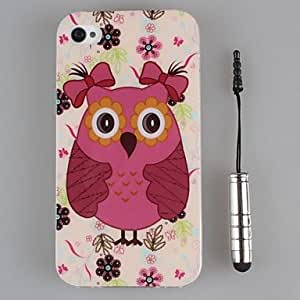 GDW búhos preciosos tpu de concha blanda y la pluma capacitancia para el iphone 4 / 4s (colores surtidos)