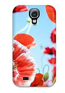 Best 4735196K27621675 Premium Variety Red Flowers Heavy-duty Protection Case For Galaxy S4