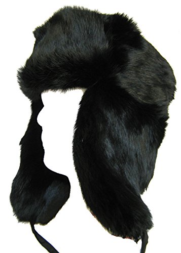 Rabbit Fur Trooper Hat - Russian Rabbit Fur Trooper Hat Ear Flaps Black Trapper Bomber: L